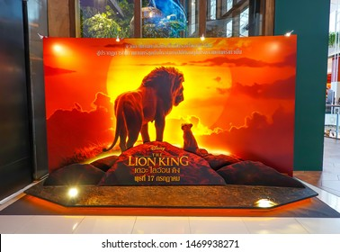 BANGKOK, THAILAND, 21 July 2019 - A beautiful standee of a movie called Lion King display at the cinema to promote the movie
