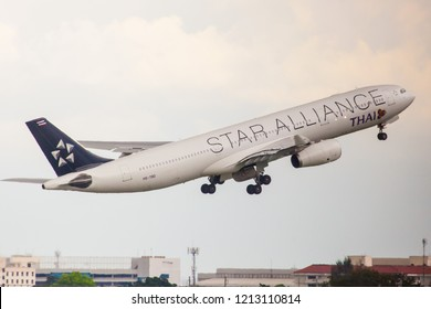 Bangkok Thailand 21 Oct 2018 : Thai Airways Airbus A330-343 HS-TBD with New Star alliance livery was taking off from Don muang international airport to test flight.