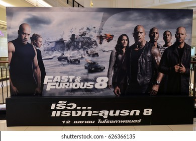Bangkok, Thailand - 22 April 2017 - Beautiful Standee of Movie Fast and Furious 8 at the theater