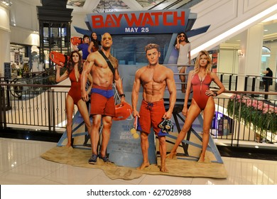 Bangkok, Thailand - 22 April 2017 - Beautiful Standee of Movie Baywatch at the theater