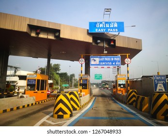 Bangkok, Thailand - 22 December 2018 : Easy Pass lane is conveniently and fast for rush hours.