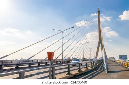 Bangkok Thailand - 22 JAN 2017 : Rama 8 bridge in Bangkok, Thailand.
