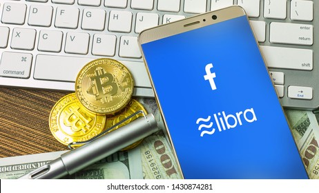 Bangkok /Thailand  /22  jun 2019 The Libra Facebook and bitcoin cryptocurrency  for Libra Facebook content