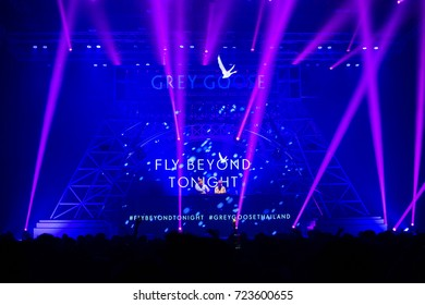 BANGKOK, THAILAND - 22 SEPTEMBER, 2017 : Grey Goose Fly Beyond Tonight Dj Music festival in Bangkok. KYMC were the headliners on EDM Music stage. DJ play music show on stage with crowded dance floor