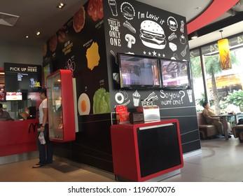 Bangkok, Thailand - 22 September 2018, The interior burger and dessert design on the wall in McDonald's restaurant