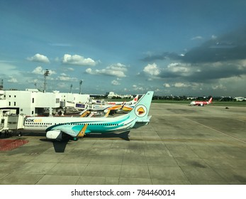 Bangkok, THAILAND –October  22,2017: Nok Air's aircraft is taking the plane out of the passenger terminal at Don Muang airport, THAILAND on October 22th, 2017
