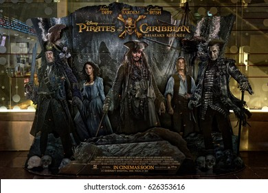 Bangkok, Thailand - 23 April 2017 - Beautiful Standee of Movie Pirates of the Caribbean 5: Salazar's Revenge or Dead Men Tell No Tales at the theater