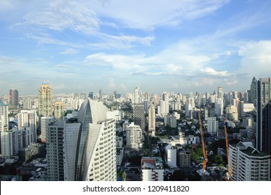 Bangkok, Thailand - 23 October, 2018 :The city escape sky view from  MRT Sukumbit, office building, condominiums and hotels in business area around sukhumvit road, in afternoon