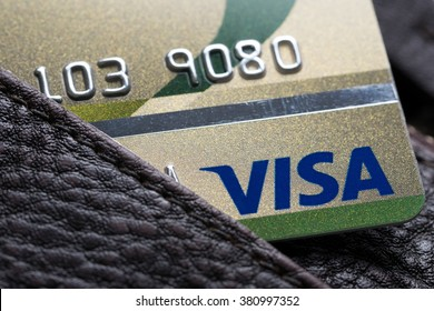 Bangkok, Thailand - 24 feb 2016 : close up of credit cards ,VISA card,   in the leather wallet , product shot