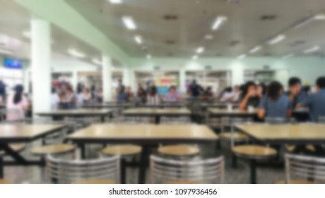 Bangkok, Thailand, 24 May 2018, Blurred picture of unknown people are eating lunch in the canteen factory at Bangkok, Thailand