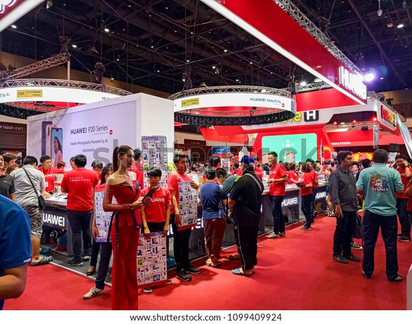 Bangkok, THAILAND - 24 MAY 2018:Thailand Mobile Expo Hi-End 2018, Mobile phone Trade fair, 24-27 MAY 2018 at Queen Sirikit National Convention Center