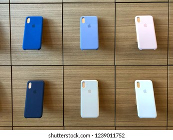 BANGKOK THAILAND -  24 NOV 2018: Apple iphone X series cases hanging on the wall in Apple store in Bangkok Thailand, This is the first Apple store was opened in Icon Siam shopping mall
