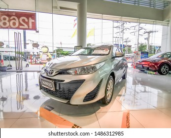 Bangkok, Thailand, 24/8/2019, silver gray Yaris parked in the center for customers who are interested in the brand Toyota cars. Toyota was founded in 1936