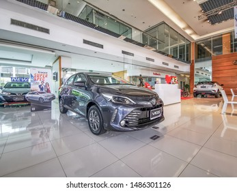 Bangkok, Thailand, 24/8/2562, Vios Black Gray Parked in the center for customers interested in looking at the Toyota Toyota brand. Established in 1936