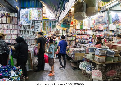 Bangkok, Thailand - 24th March 2017: Shoppers in Sampeng Lane, Chinatown. Chinatown is one of the oldest and busiest areas of the city.