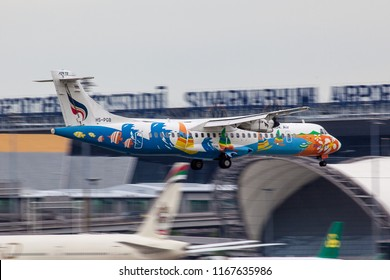 Bangkok Thailand 25 aug 2018: Bangkok airways ATR72-500 was landing on Bangkok Suwannabhum international airport.