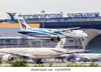Bangkok Thailand 25 aug 2018: Bangkok airways ATR72-600 was landing on Bangkok Suwannabhum international airport.