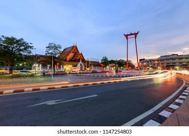 Bangkok , Thailand - 25 jul, 2018:  Giant swing landmark of bangkok city / Sao Ching Cha landmark in Bangkok city