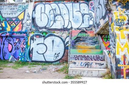 Bangkok, Thailand - 26 December 2015 : Beautiful graffiti art on abandoned building at Bangkok Thailand.
