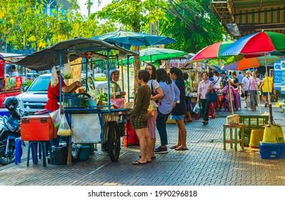 Bangkok Thailand 26. January 2020 Buy street food Thai food market in Don Mueang Bangkok Thailand.
