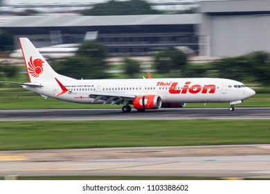 Bangkok Thailand 27 May 2018: Thai Lion air with new Boeing 737 max 9 HS-LSIwas landing on Don muang international airport and open reverse thrusts to stop the airplane.