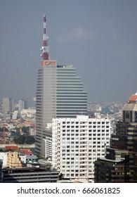 Bangkok, Thailand - 27th December, 2015: View of the 35-storey CAT building, Communication Authorities of Thailand Headquarters, Bang Rak, Bangkok.