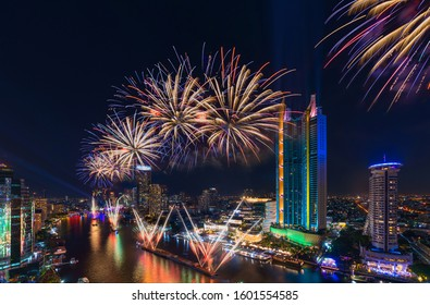 Bangkok, Thailand - 28 December 2018 : Beautiful firework for New Year 2019 celebration on Chao Phraya River in front of Icon Siam Department store the new travel destination Bangkok Thailand