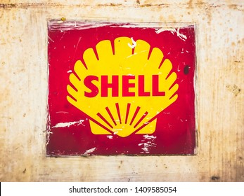Bangkok Thailand - 28 May 2019:  Old Vintage Shell Oil Sign on rusty metal plate
