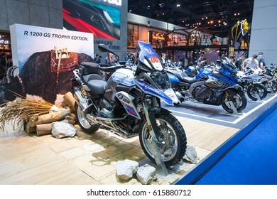 Bangkok, Thailand. 28th Mar, 2017. BMW GS 1200 adventure motorcycle on display at The 38th Bangkok International Thailand Motor Show 2017 on March 28, 2017 Nonthaburi, Thailand
