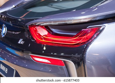 Bangkok, Thailand. 28th Mar, 2017.Back of  BMW i8 car on display at The 38th Bangkok International Thailand Motor Show 2017 on March 28, 2017 Nonthaburi, Thailand