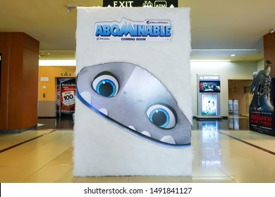 BANGKOK, THAILAND, 29 Aug 2019 - A beautiful standee of a movie called ABOMINABLE display at the cinema to promote the movie