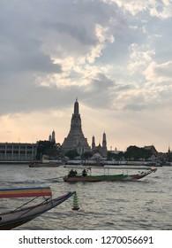 Bangkok Thailand 29 December 2019 :  Wat Arun Ratchawararam Ratchawaramahawihan or Wat Arun on Chao Phraya River