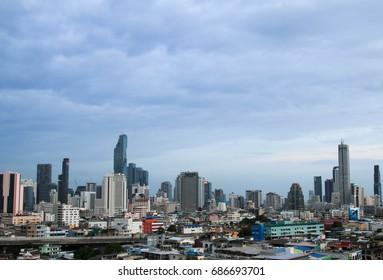 BANGKOK, THAILAND - 29 JULY, 2017 :  Cityscape view of Bangkok modern office business building in business zone at Bangkok.