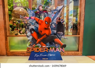BANGKOK, THAILAND, 29 June 2019 - A beautiful standee of a movie called Spider-Man: Far From Home display at the cinema to promote the movie