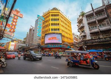 Bangkok - Thailand, 3 Aug 2019: Yaowarat road is the center of China town in Bangkok
