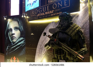 Bangkok, Thailand - 3 December, 2016: Death Trooper Model in a Standee of Rogue One: A Star Wars Story at the theater