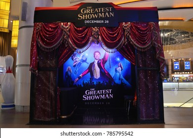 Bangkok, Thailand - 3 January 2018 - Beautiful Standee of Movie The Greatest Showman at the theater