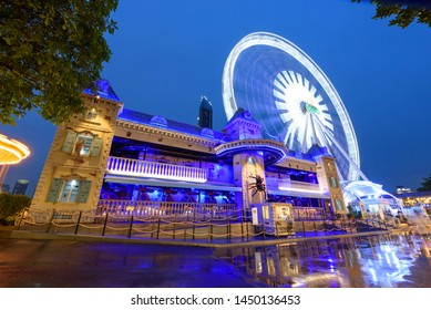 Bangkok , Thailand -  3 July, 2019 : The haunted house at amusement park in night time of ASIATIQUE The Riverfront shopping mall