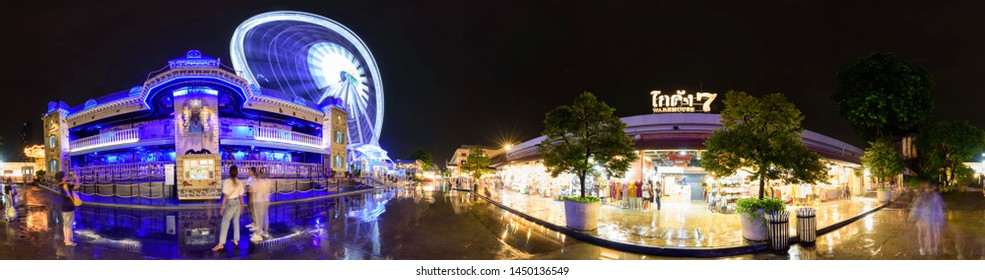 Bangkok , Thailand -  3 July, 2019 : 360 Panorama of The haunted house at amusement park in night time of ASIATIQUE The Riverfront shopping mall