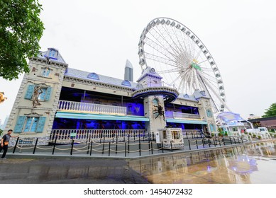 Bangkok , Thailand -  3 July, 2019 : The haunted house at amusement park in evening time of ASIATIQUE The Riverfront shopping mall