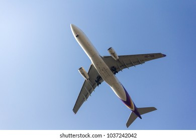 Bangkok Thailand : 3 march 2018. Thai airway airline airplane flying with sky background.
