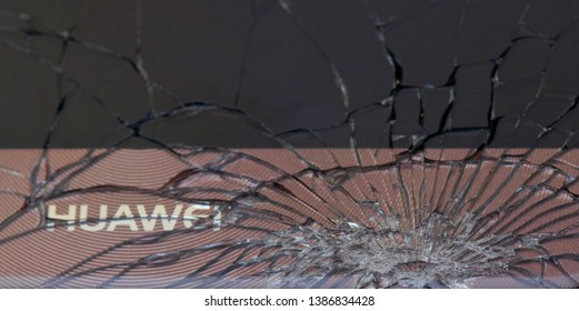 Bangkok, Thailand, 3 May 2019 : Closeup of Top View Cracked Broken Huawei Mobile Screen Glass Texture Background.