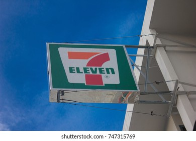 BANGKOK, THAILAND - 3 NOVEMBER 2017: 7-Eleven, convenience store with largest number of outlets in Thailand.