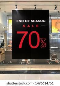 Bangkok Thailand 3 September 2019: 70% sale banner in shop in shopping mall
