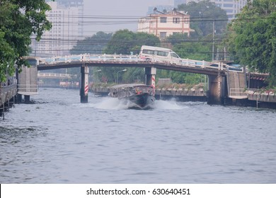 Bangkok, Thailand - 30 April 2017 : Khlong Saen Saep Express Boat. The voyage by longtail boat in khlong saen saep is one of transport in bangkok. Every day have many the passengers