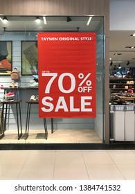 Bangkok Thailand 30 April 2019 : 70% sale banner in department store