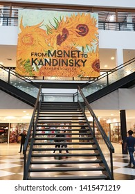 """Bangkok, Thailand - 30 May 19: """"From Monet to Kandinsky"""" show at River City Bangkok.This exhibition show artwork from 16 top European artists.The artwork will be display in animation and soundtracks."""
