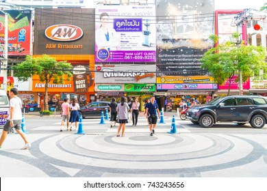 BANGKOK, THAILAND - 31 AUG, 2017: Unidentified tourists in Siam square area. Siam square is popular among teen and tourists in Thailand.