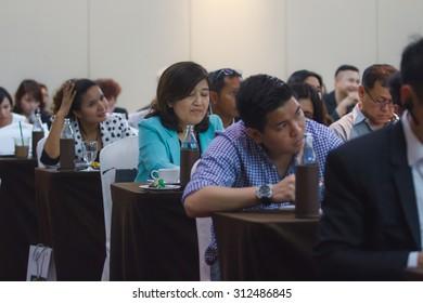 BANGKOK, THAILAND - 31 AUGUST 2015- Bangkok seminar. Thai people enjoy seminar financial class.