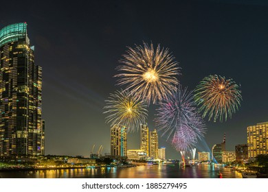 Bangkok, Thailand - 31 December 2020: Wonderful fireworks display at Iconsiam. New year's celebration in Bangkok.